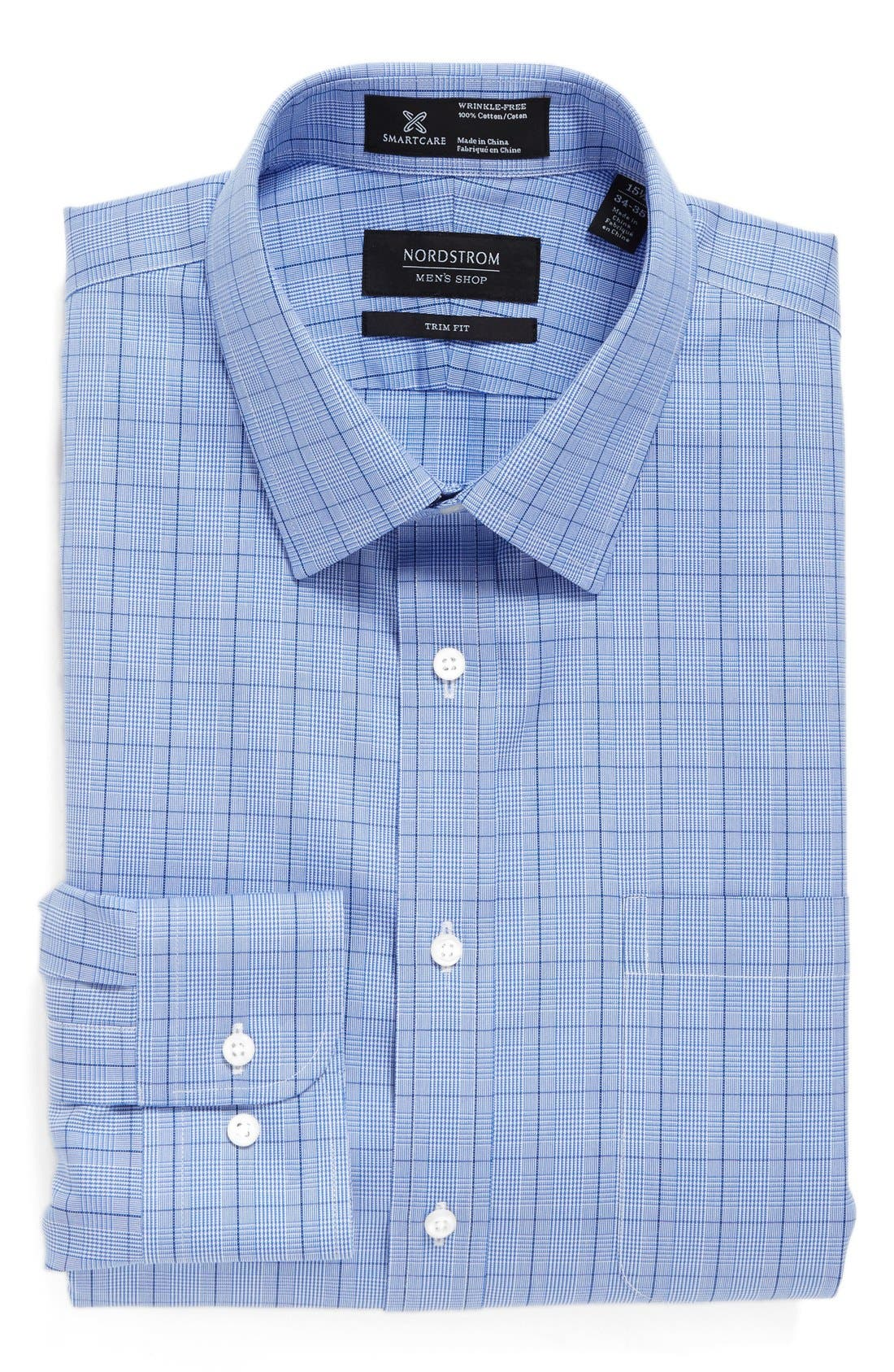 Main Image - Nordstrom Men's Shop Smartcare™ Trim Fit Plaid Dress Shirt