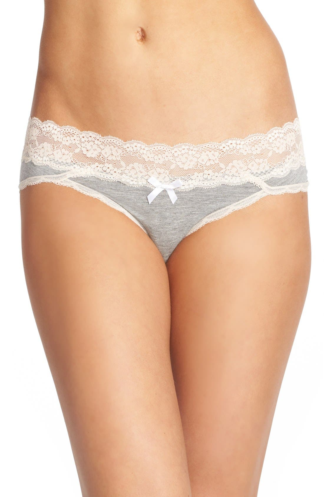 Lace Waistband Hipster Panties,                         Main,                         color, Heather Grey/ Seashell