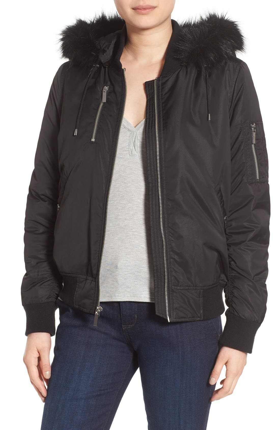 'Varsity' Hooded Bomber Jacket with Faux Fur Trim,                             Main thumbnail 1, color,                             Black