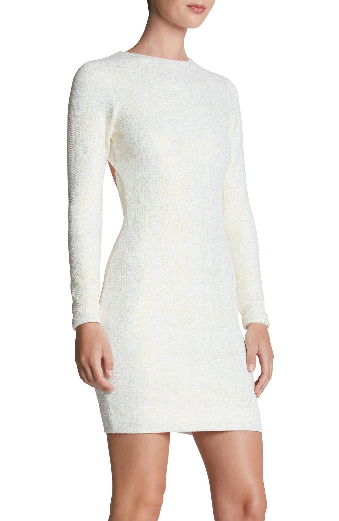 Tori Body-Con Dress,                             Alternate thumbnail 4, color,                             Ivory/ Gold