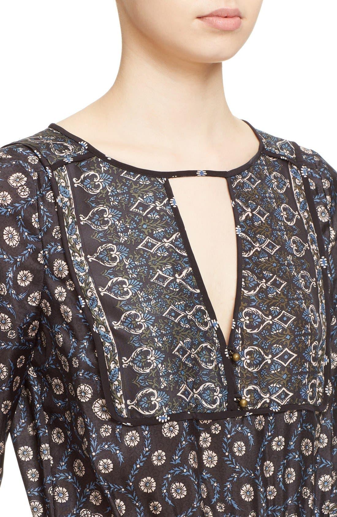 Alternate Image 4  - Veronica Beard 'Makai' Floral Print Silk Ruffle Hem Dress
