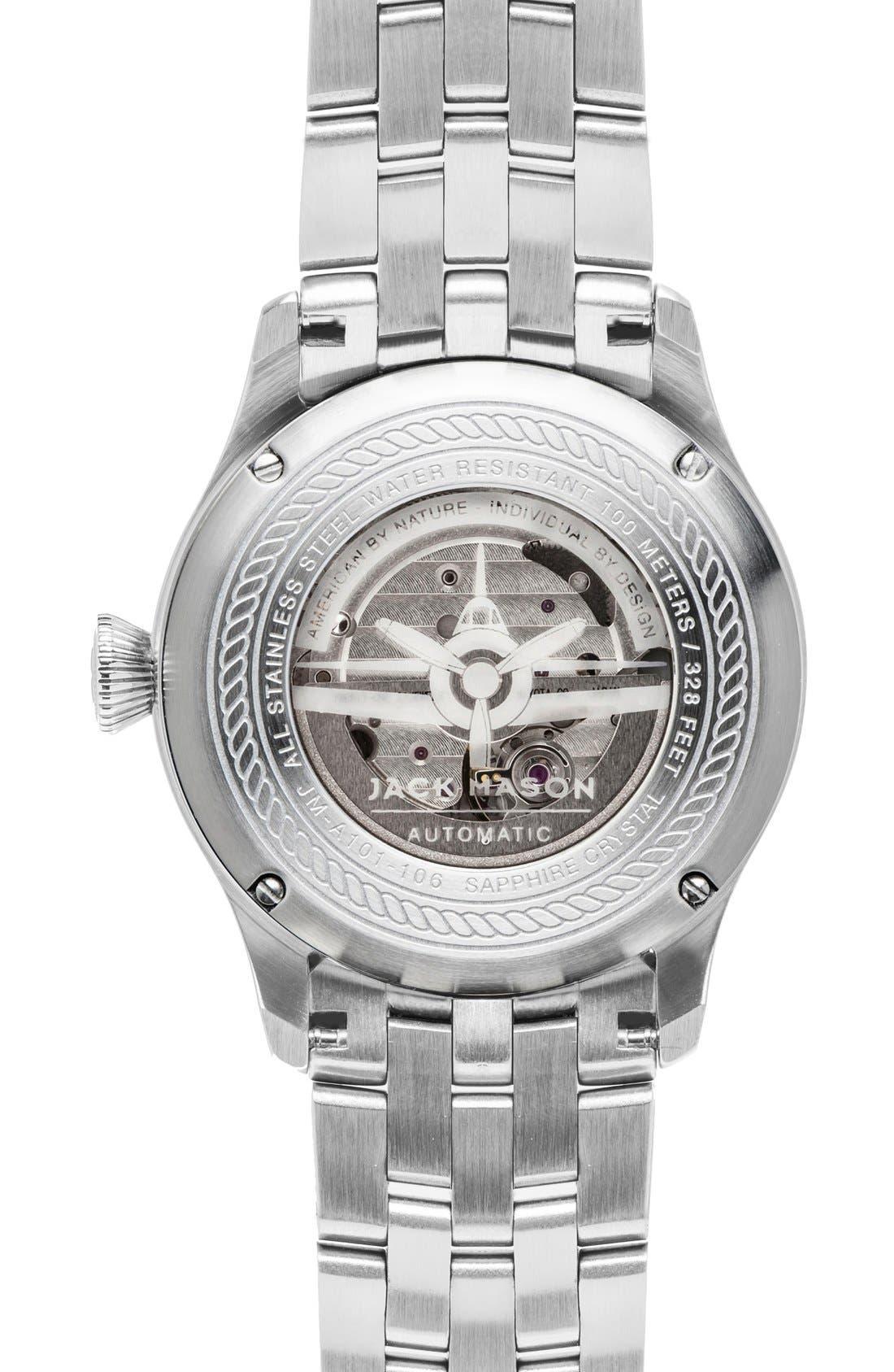 Automatic Bracelet Watch, 42mm,                             Alternate thumbnail 2, color,                             Silver/ Navy