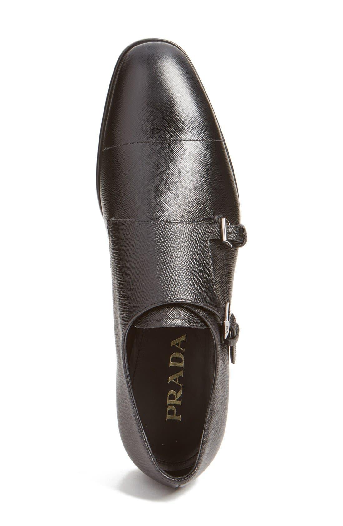 Double Monk Strap Shoe,                             Alternate thumbnail 2, color,                             Nero Leather