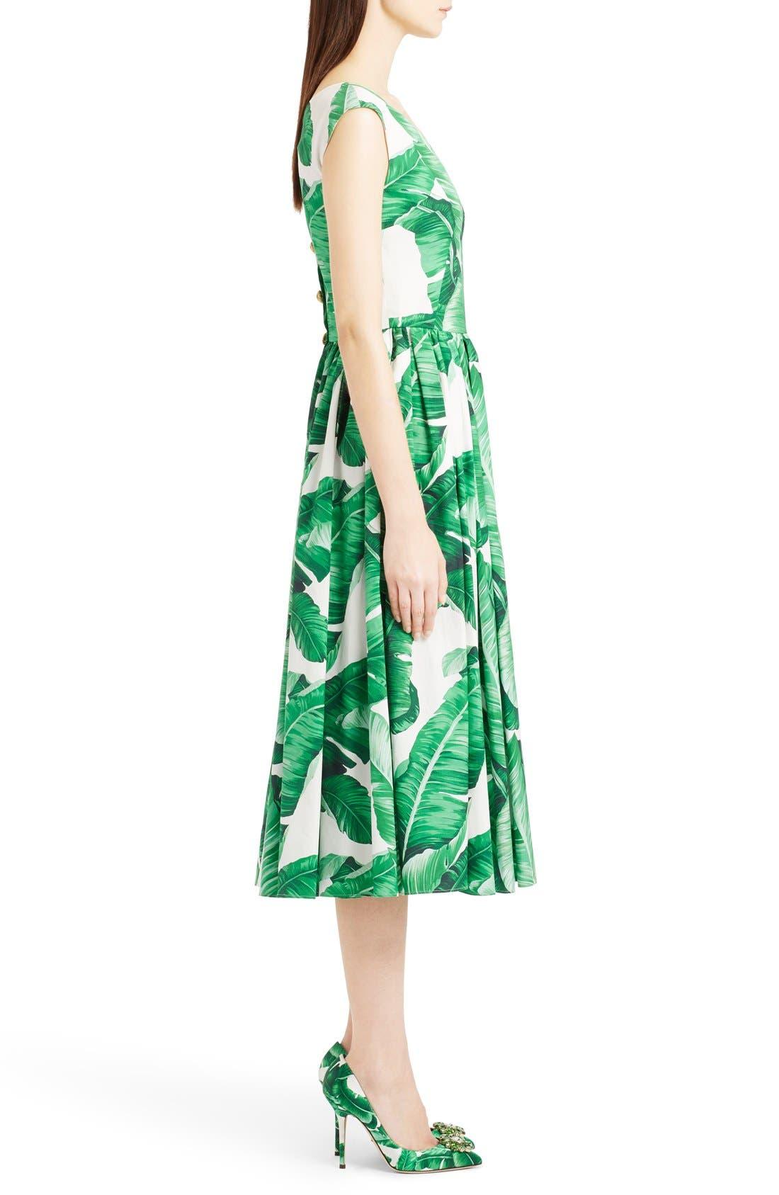 Alternate Image 4  - Dolce&Gabbana Banana Leaf Print Cotton Poplin Dress