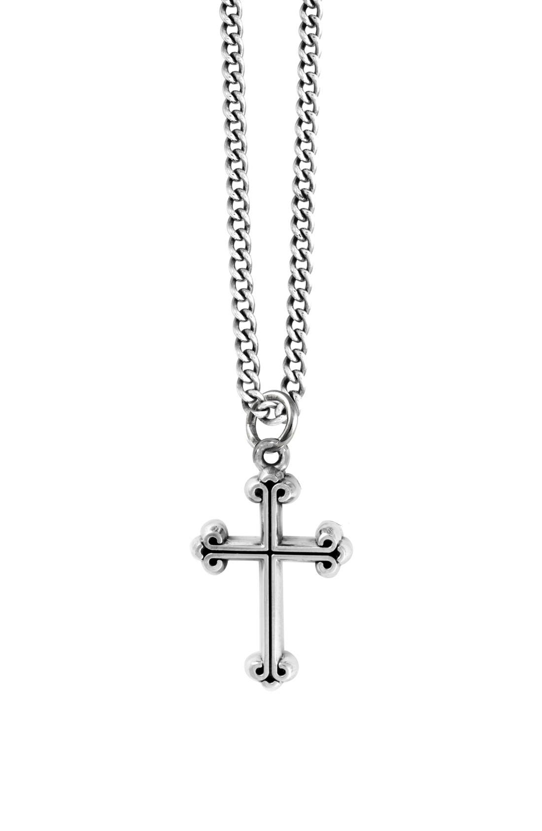 Sterling Silver Cross Pendant Necklace,                         Main,                         color, Silver