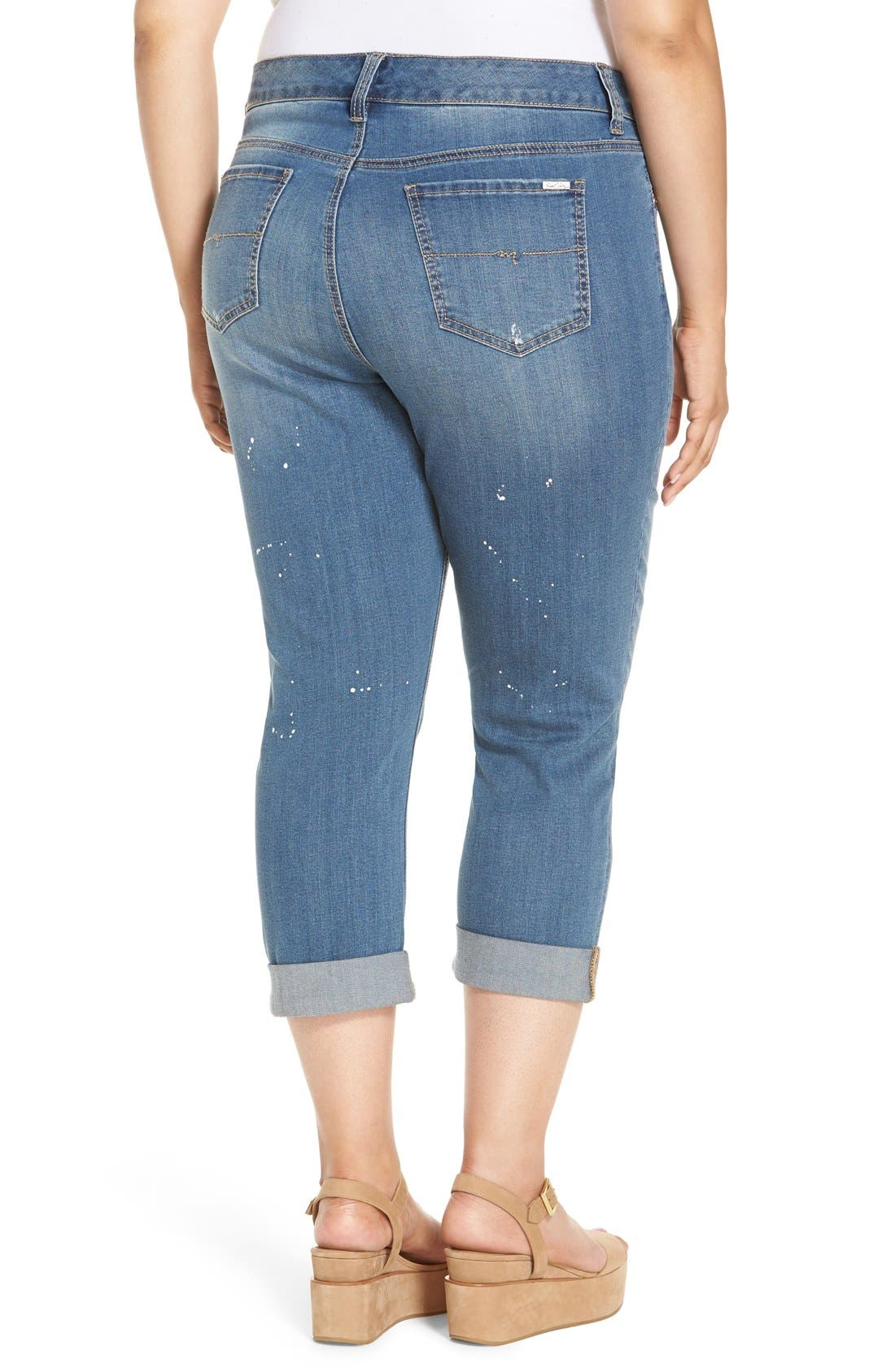 Alternate Image 2  - Melissa McCarthy Seven7 Stretch Crop Girlfriend Jeans (Plus Size)