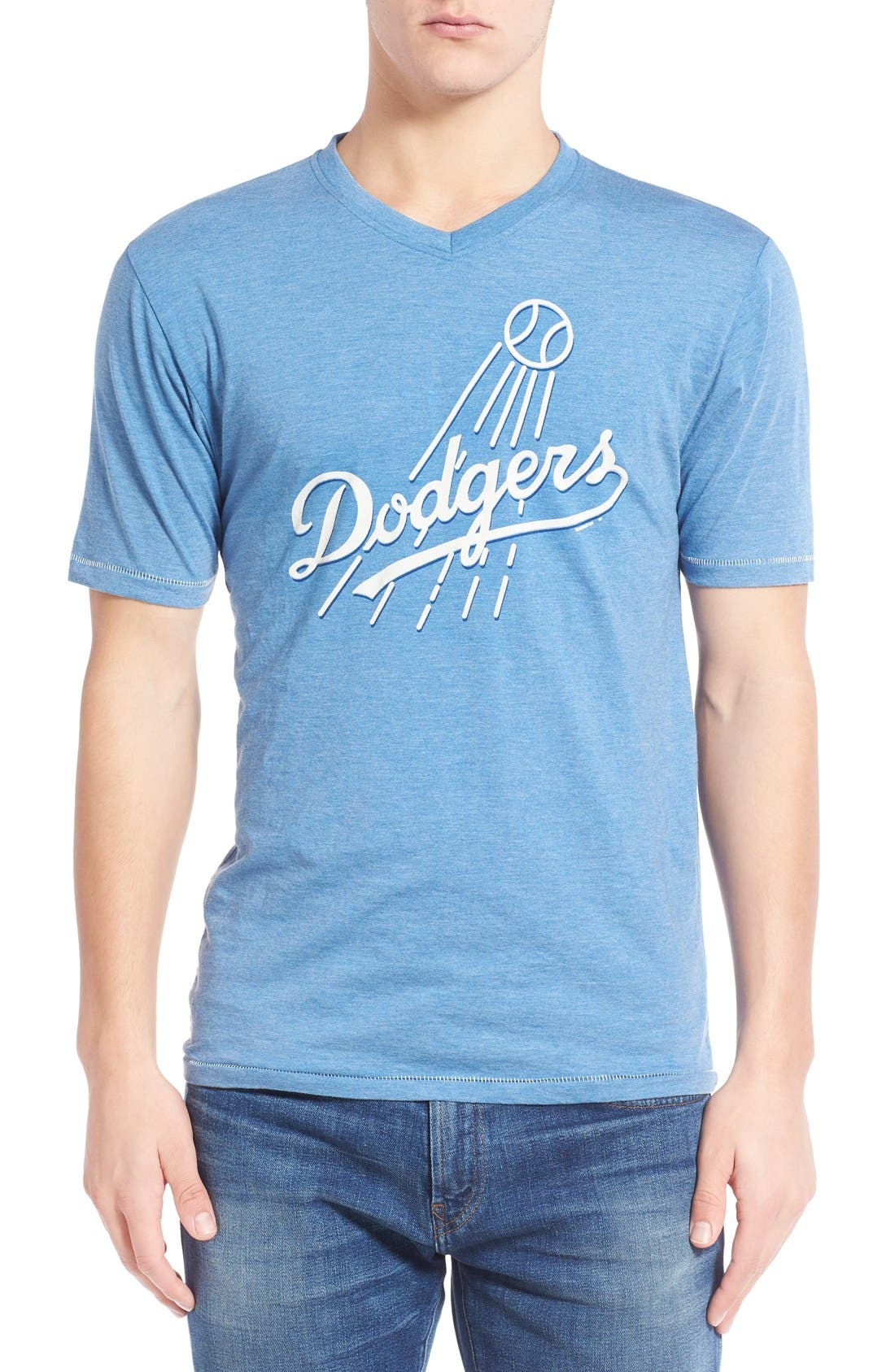 Red Jacket 'Los Angeles Dodgers - Calumet' Graphic V-Neck T-Shirt