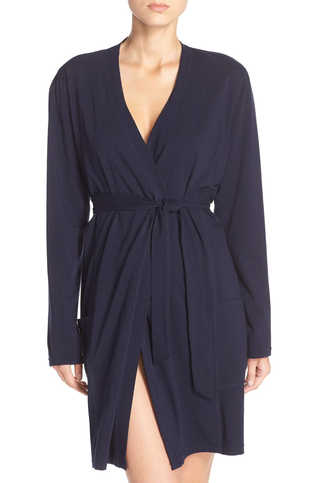 Stretch Cotton Robe,                         Main,                         color, Peacoat