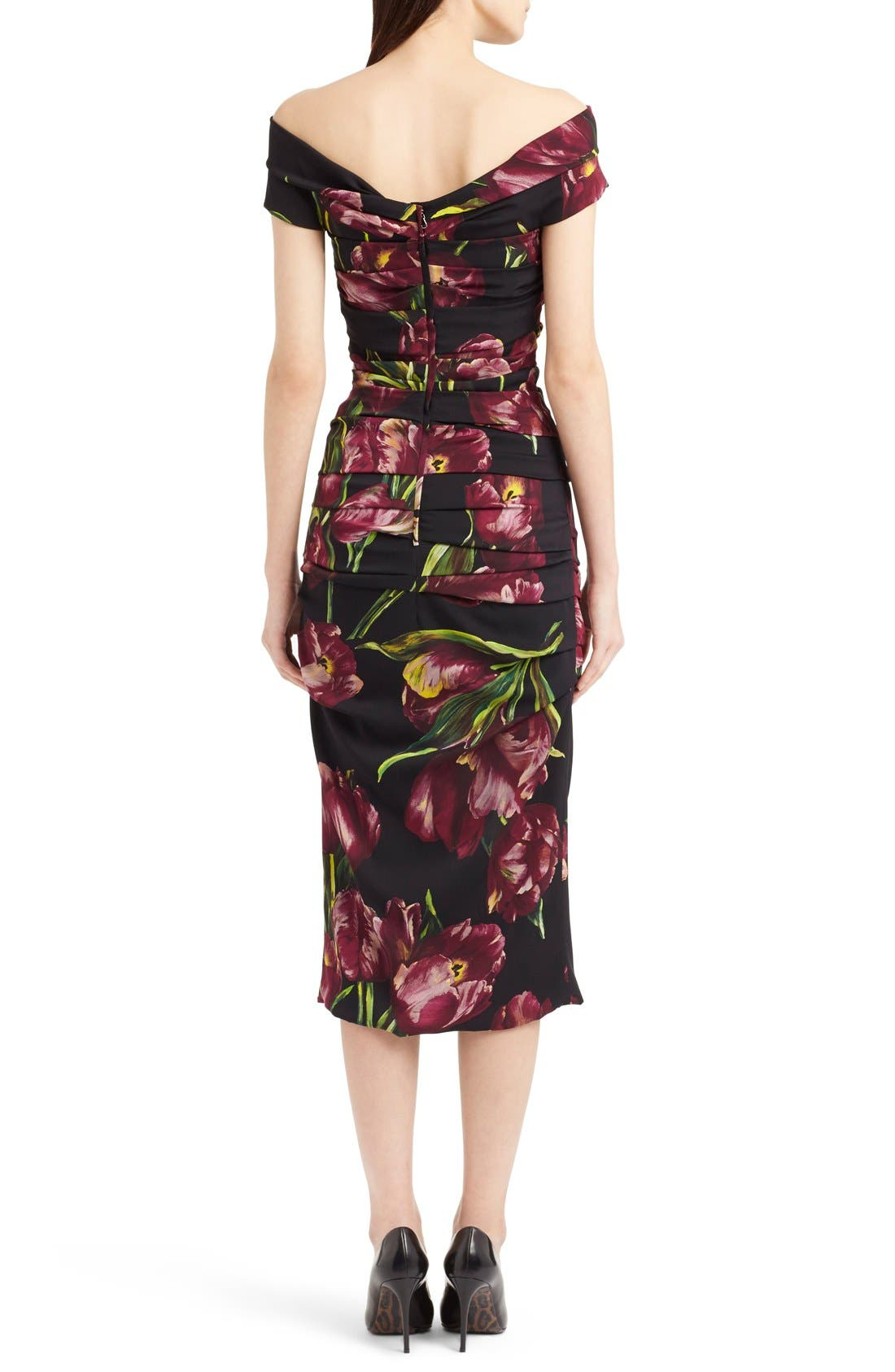 Alternate Image 2  - Dolce&Gabbana Tulip Print Ruched Off the Shoulder Charmeuse Dres