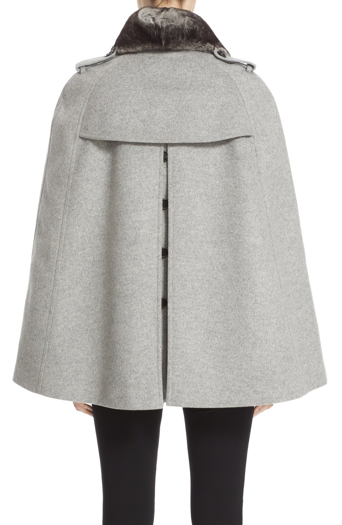 Alternate Image 2  - Burberry 'Wolseley' Wool & Cashmere Trench Cape with Removable Genuine Rabbit Fur Collar