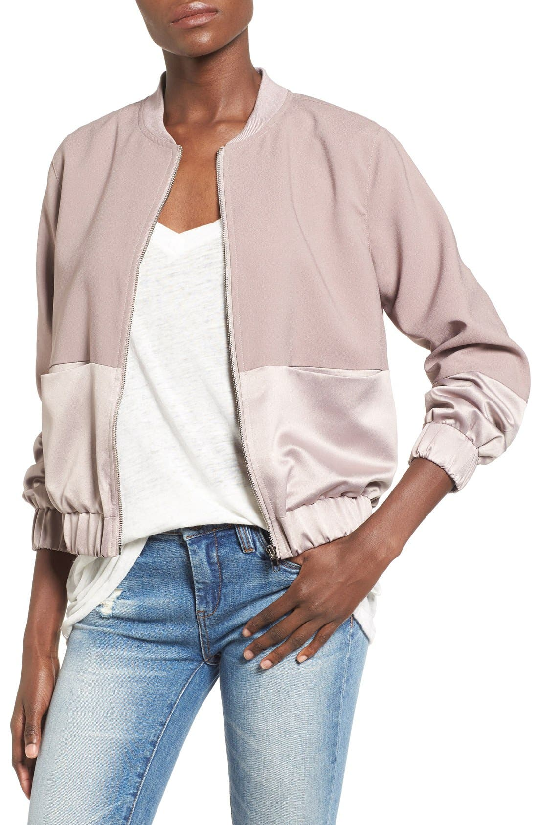 Main Image - Missguided Satin & Faux Suede Bomber Jacket