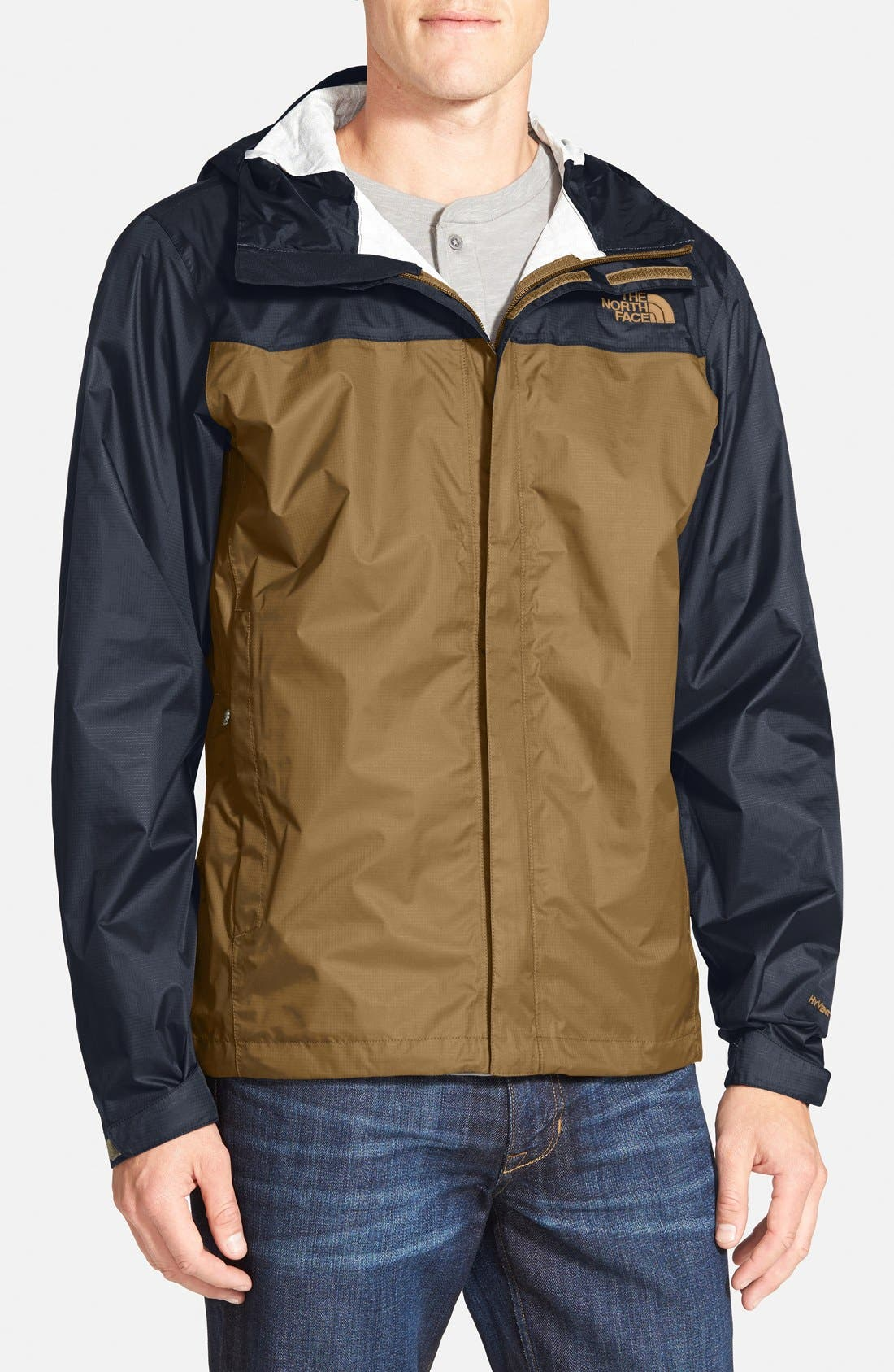 Venture Waterproof Jacket,                             Main thumbnail 1, color,                             Dijon Brown/ Urban Navy