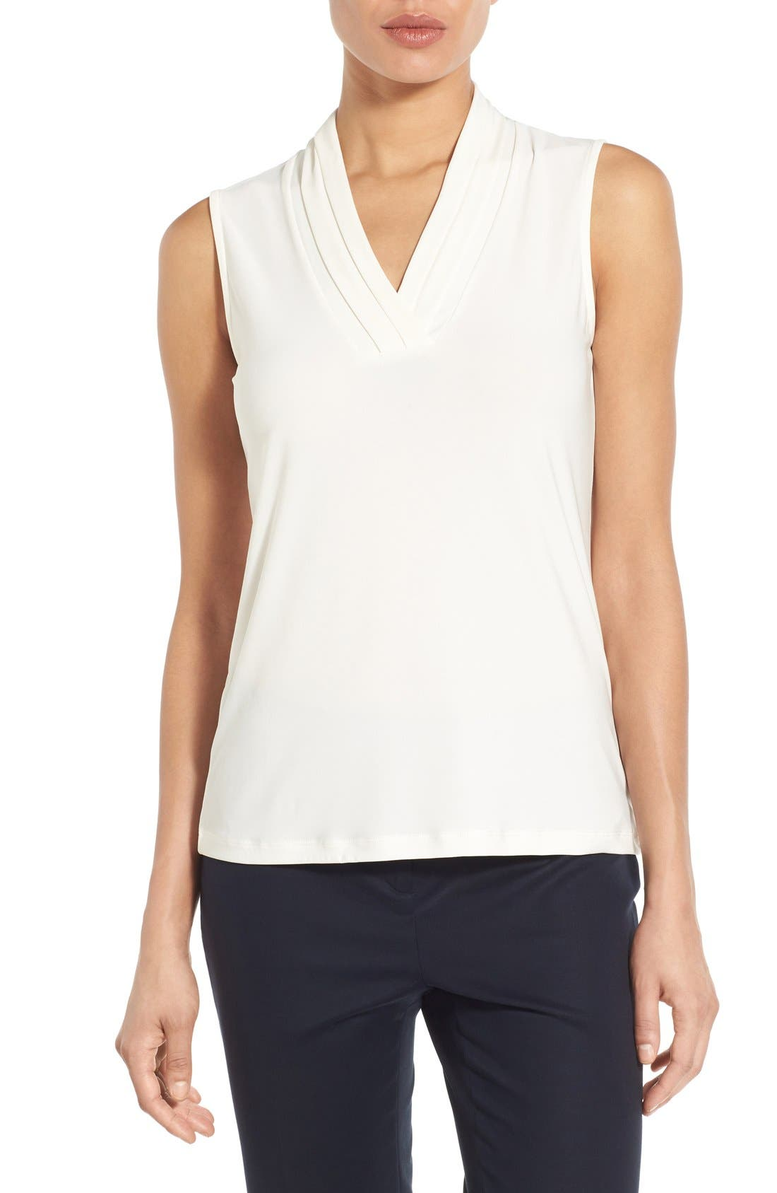 Triple Pleat V-Neck Jersey Top,                         Main,                         color, White
