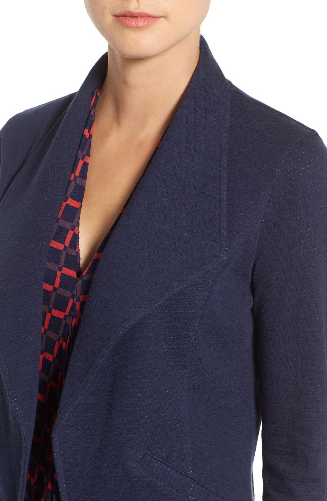 Cotton Knit Open Front Blazer,                             Alternate thumbnail 5, color,                             Navy Pattern