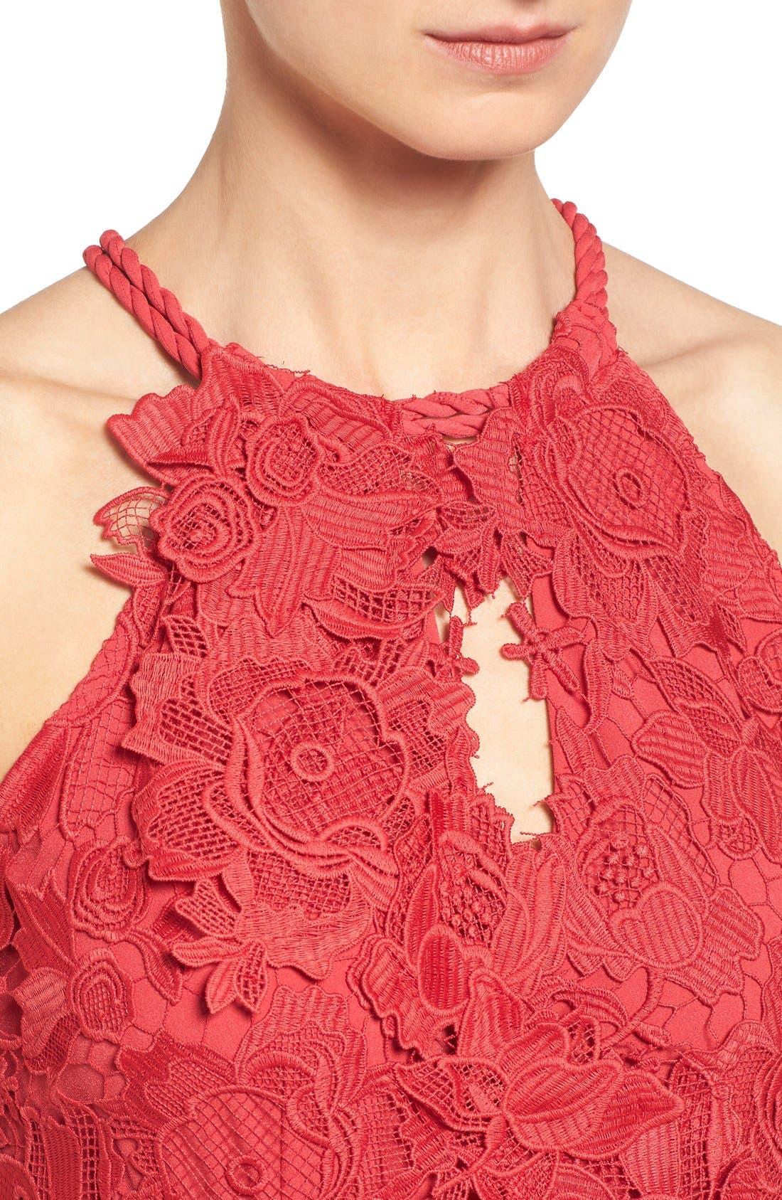 Alternate Image 4  - Kobi Halperin 'Jade' Asymmetrical Hem Halter Style Lace Dress