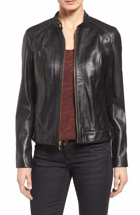 Cole Haan Leather Moto Jacket (Regular & Petite) by COLE HAAN