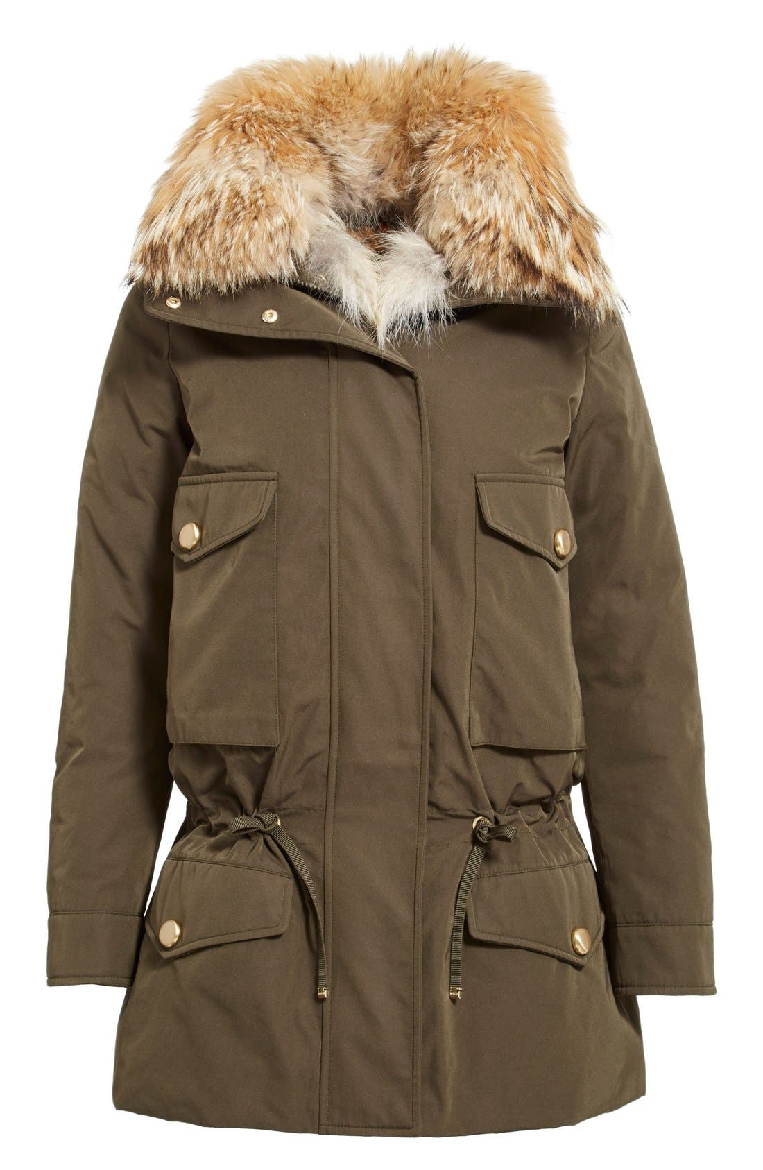 'Margarita' Down Jacket with Removable Genuine Coyote Collar and Rabbit Fur Vest,                             Alternate thumbnail 6, color,                             Olive
