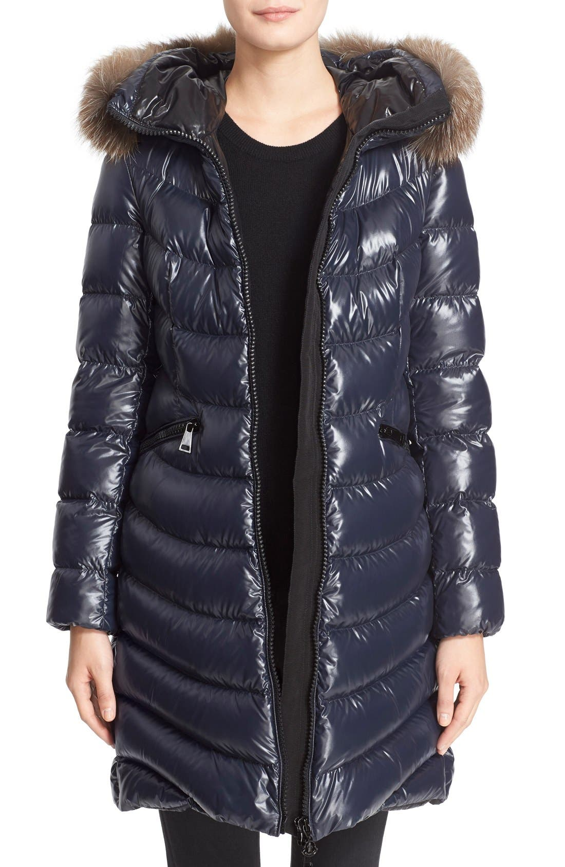 'Aphia' Water Resistant Shiny Nylon Down Puffer Coat with Removable Genuine Fox Fur Trim,                         Main,                         color, Navy