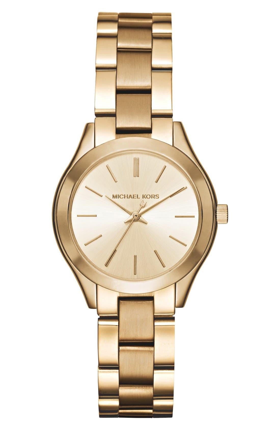 'Slim Runway' Bracelet Watch, 33mm,                         Main,                         color, Gold/ Champagne