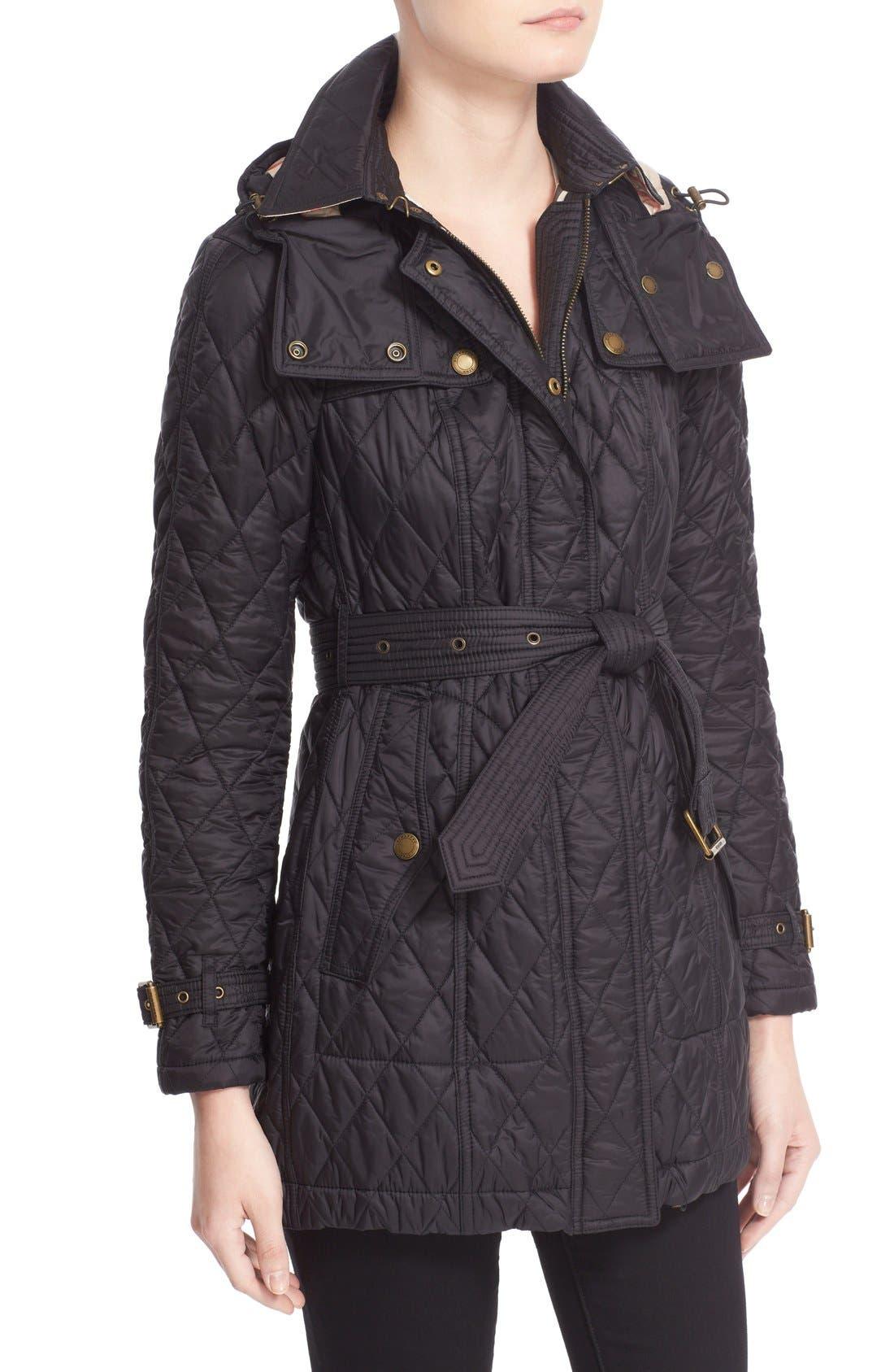 Alternate Image 6  - Burberry Finsbridge Belted Quilted Jacket