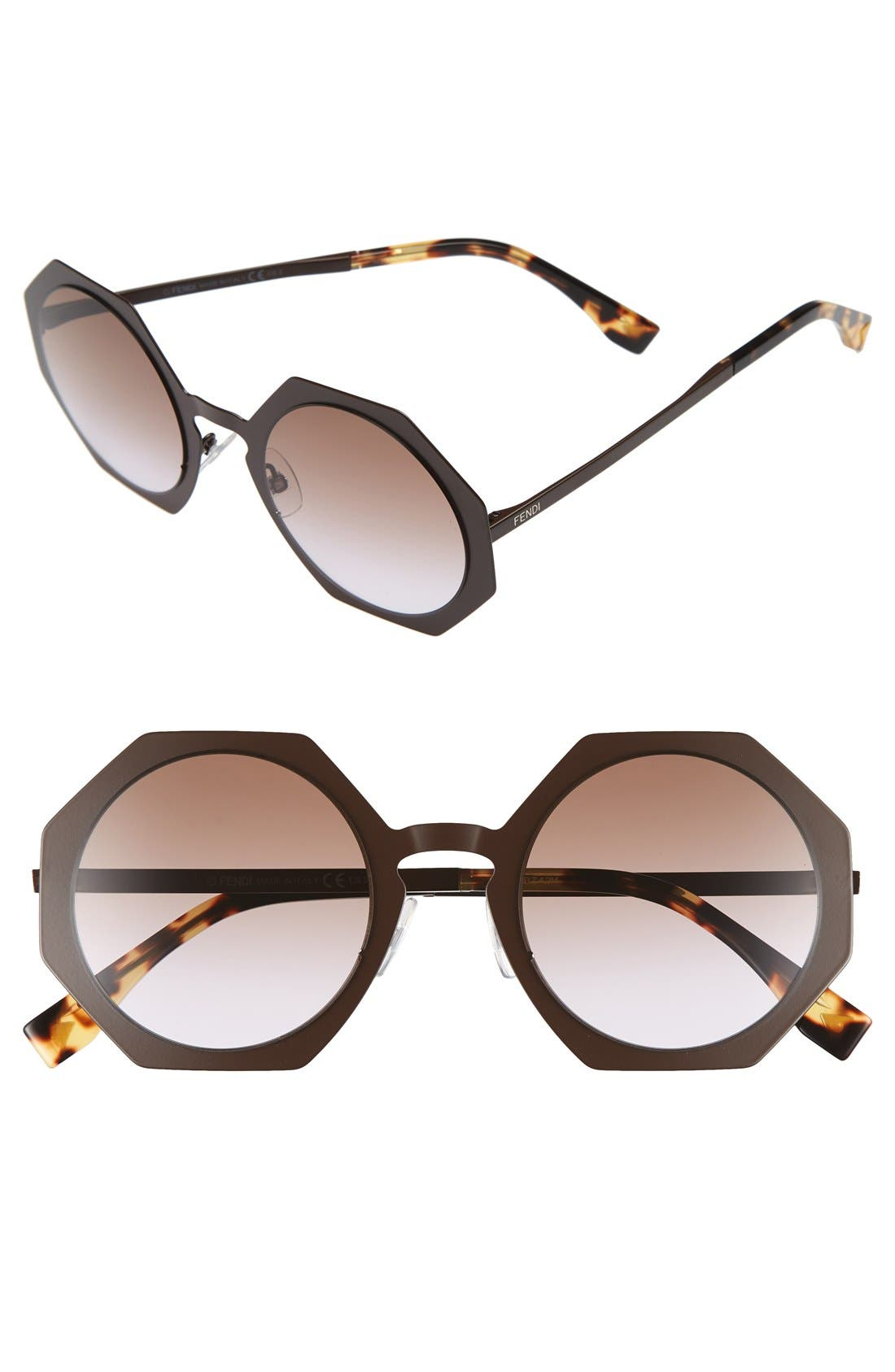 51mm Retro Octagon Sunglasses,                             Main thumbnail 1, color,                             Brown