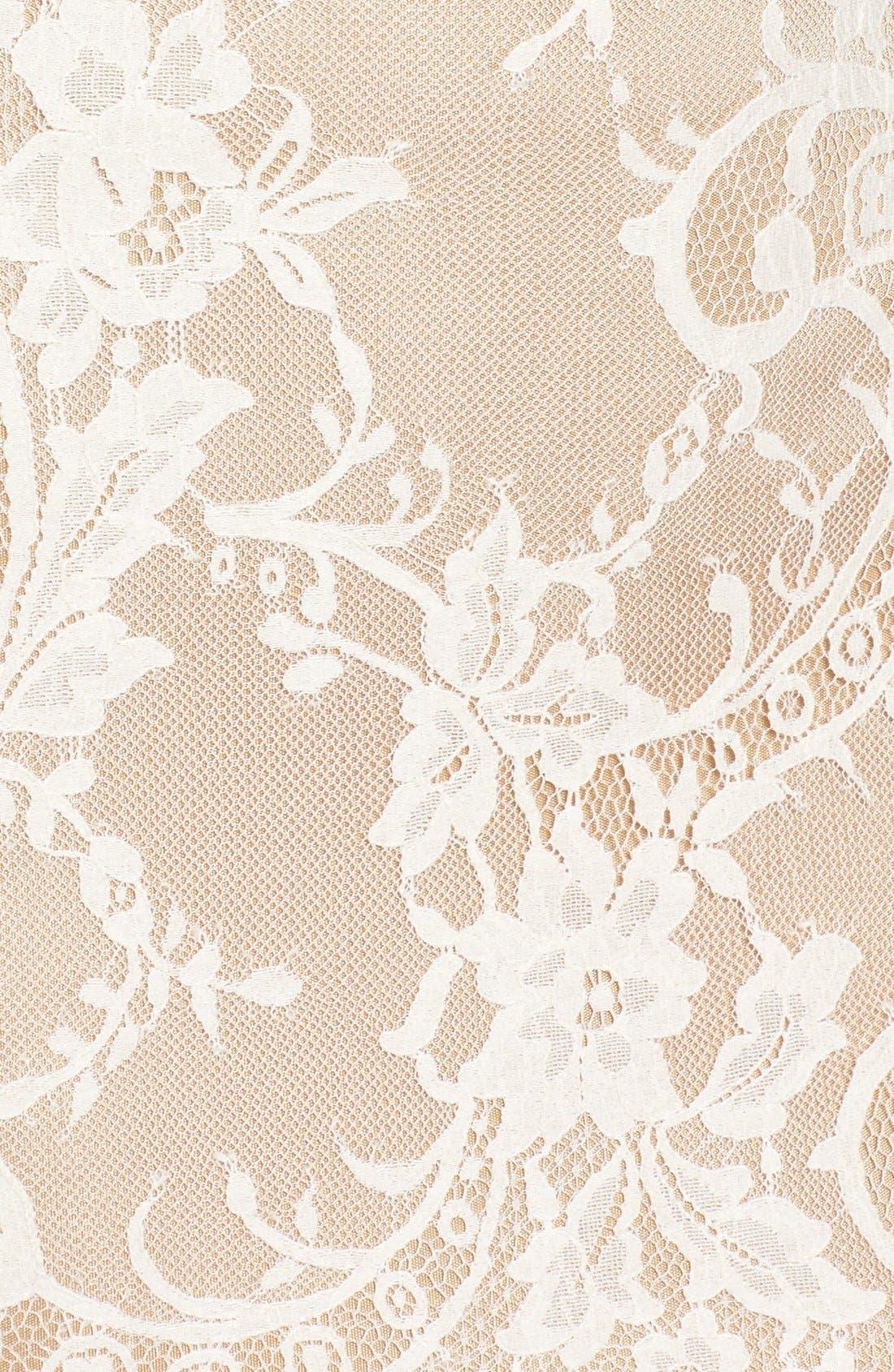'Britney' Long Sleeve Open Back Lace Sheath Dress,                             Alternate thumbnail 5, color,                             Ivory/Nude