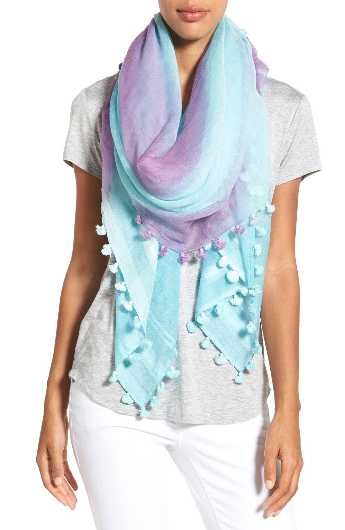 Alternate Image 1 Selected - La Fiorentina Striped Ombré Cotton & Silk Scarf