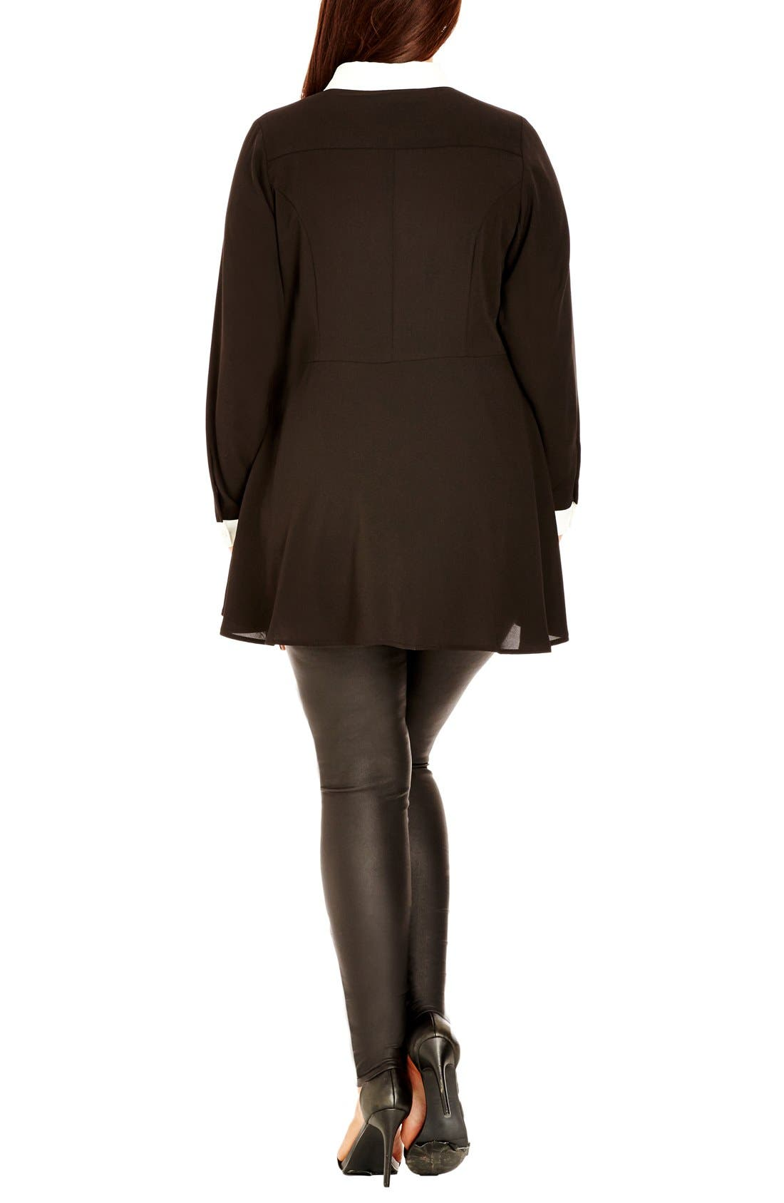 Alternate Image 2  - City Chic Contrast Trim Fit & Flare Shirt (Plus Size)