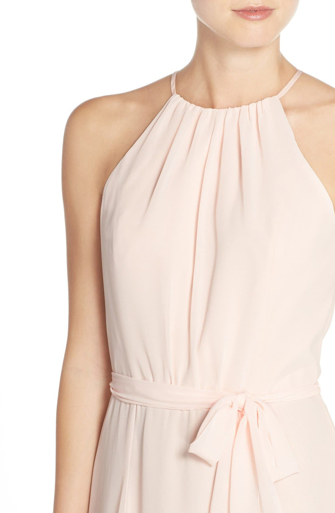 'Delaney' Belted A-Line Chiffon Halter Dress,                             Alternate thumbnail 4, color,                             Blush