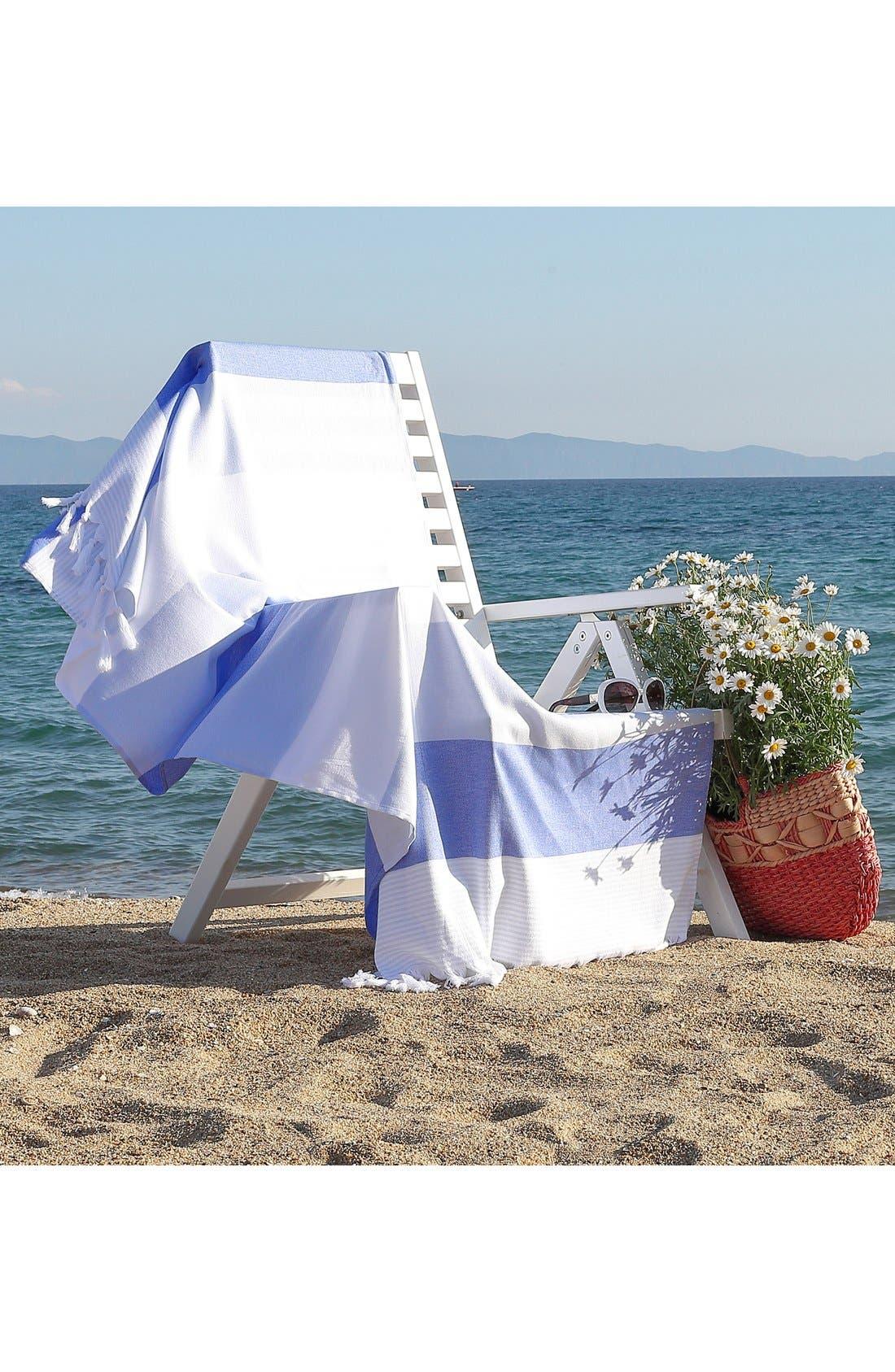 'Sea Waves' Turkish Pestemal Towel,                             Alternate thumbnail 3, color,                             Ocean Blue