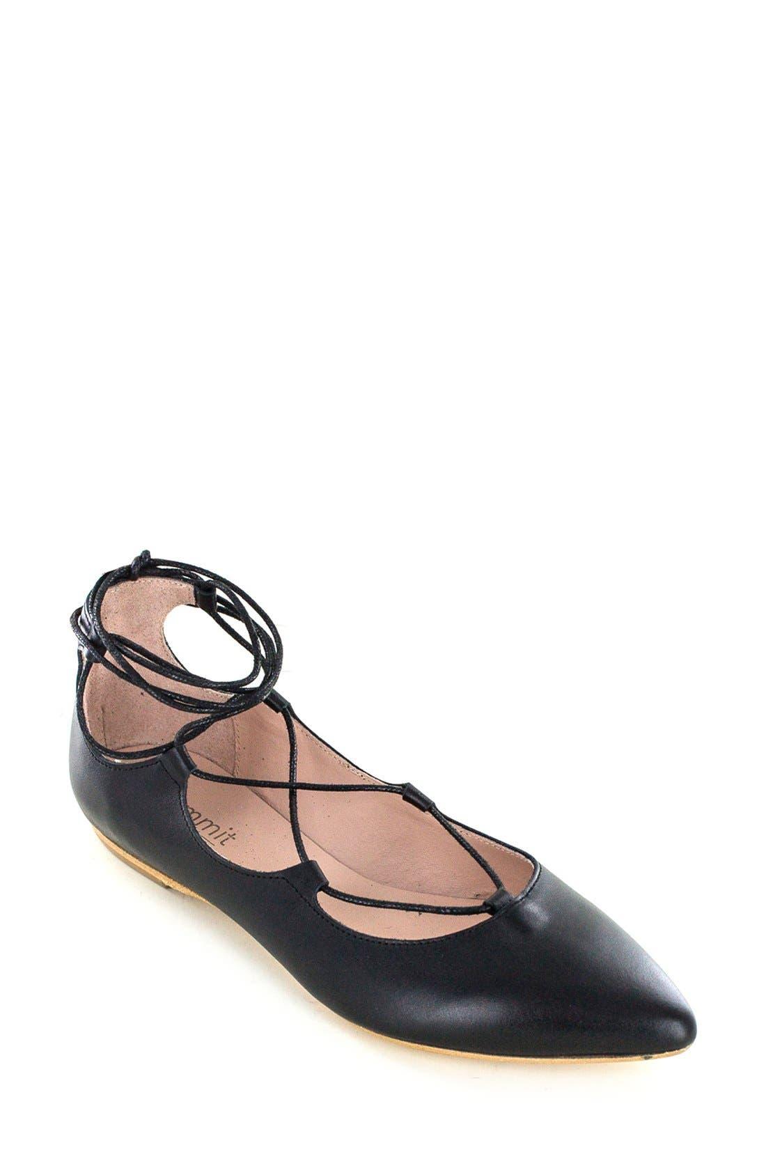 'Karena' Flat,                         Main,                         color, Black Leather