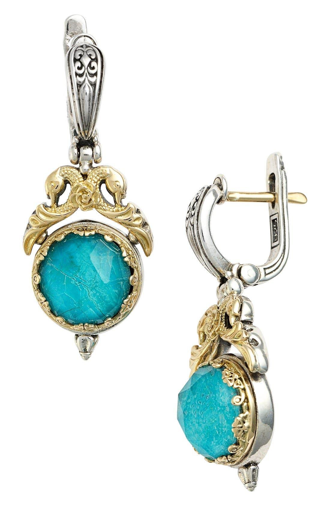 'Iliada' Double Drop Earrings,                             Main thumbnail 1, color,                             Blue/ Green