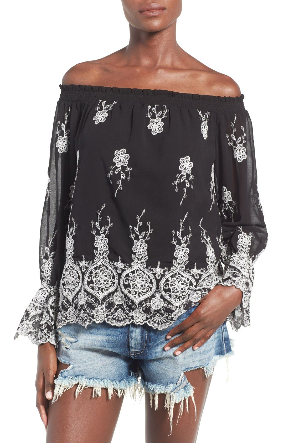Main Image - WAYF Embroidered Off the Shoulder Top