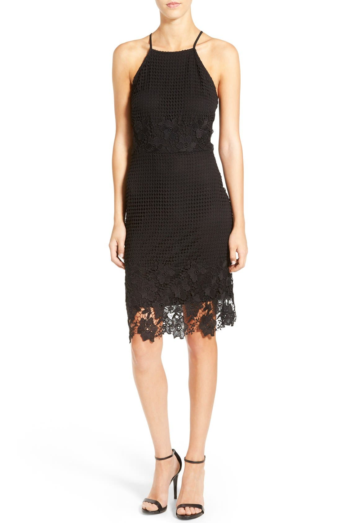Alternate Image 1 Selected - Willow & Clay Appliqué High Neck Midi Dress
