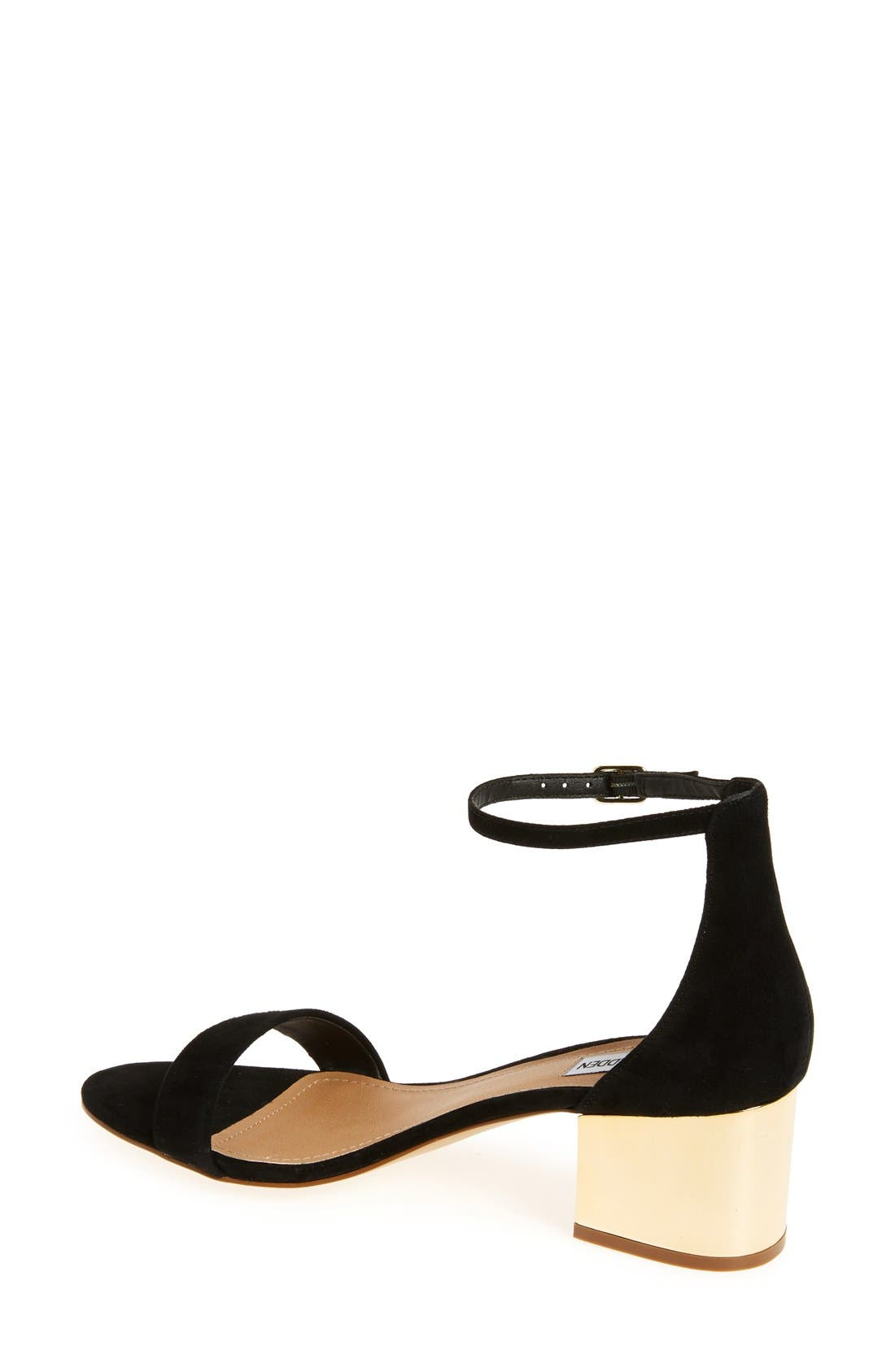 'Irenee-G' Mirror Block Heel Sandal,                             Alternate thumbnail 2, color,                             Black Suede