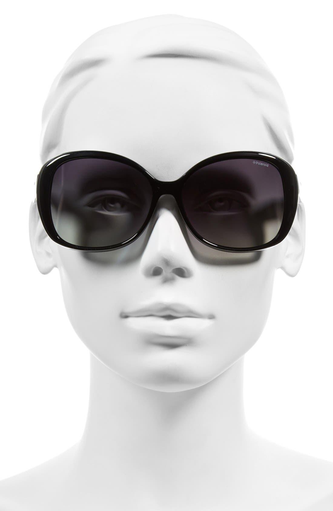 59mm Polarized Sunglasses,                             Alternate thumbnail 2, color,                             Shiny Black/ Green Polarized