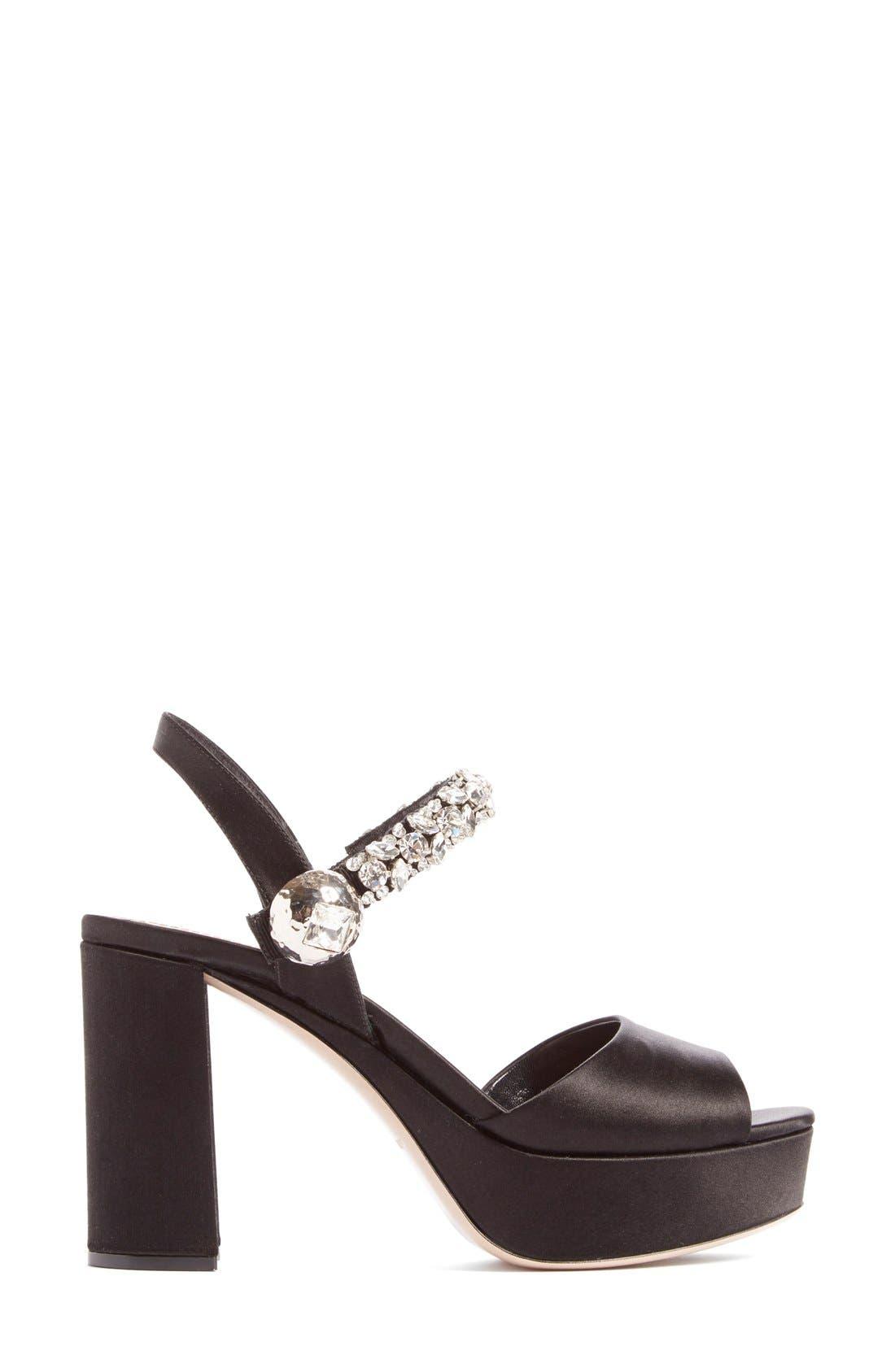 Alternate Image 2  - Miu Miu Crystal Embellished Platform Sandal (Women)