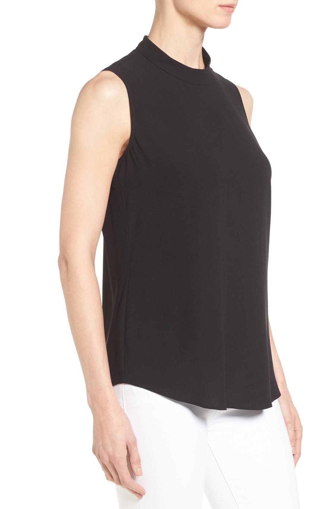 Silk Crepe High Neck Sleeveless Blouse,                             Alternate thumbnail 3, color,                             Black