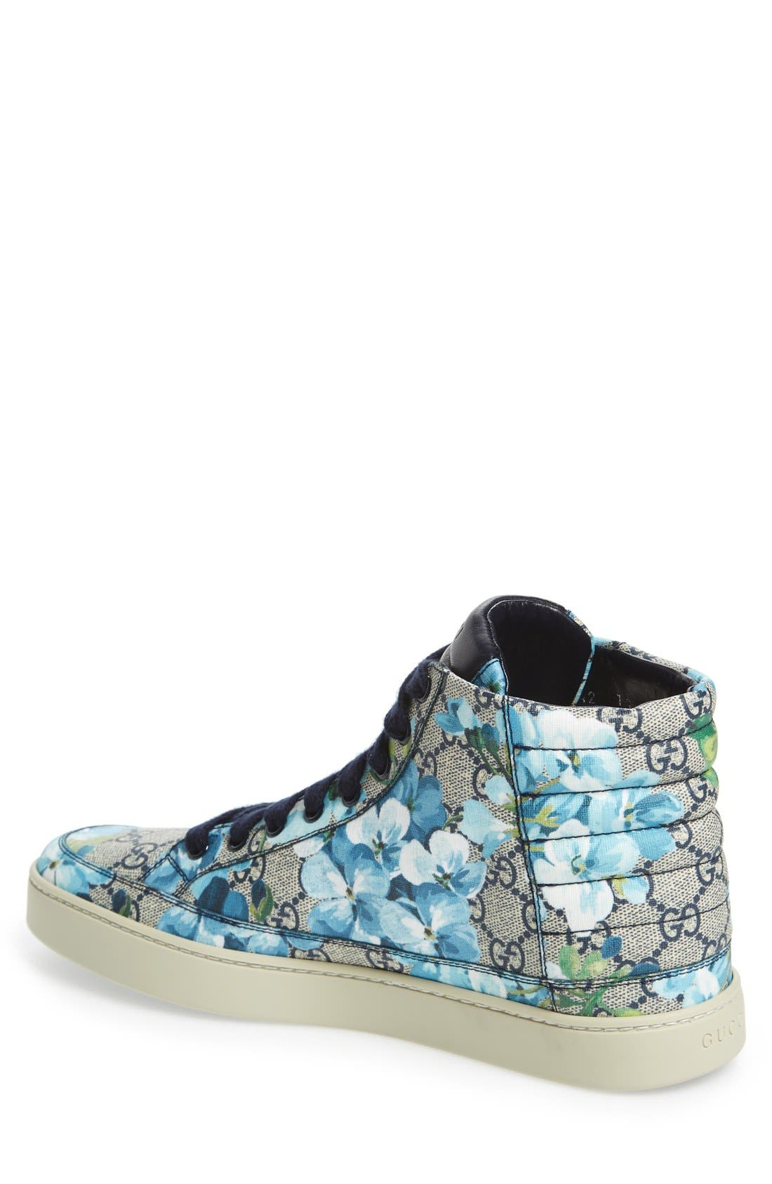'Common' High Top Sneaker,                             Alternate thumbnail 2, color,                             Blue/ Beige Fabric/ Leather