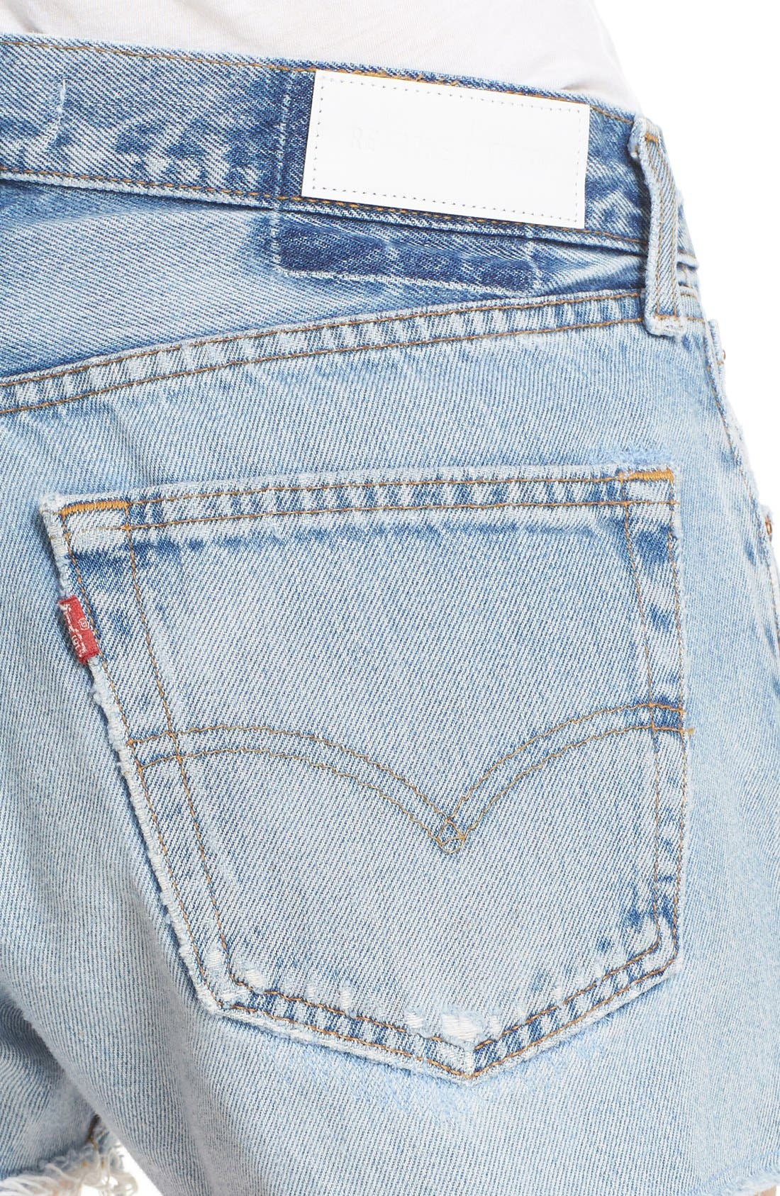 Alternate Image 4  - Re/Done 'The Short' Reconstructed Denim Shorts