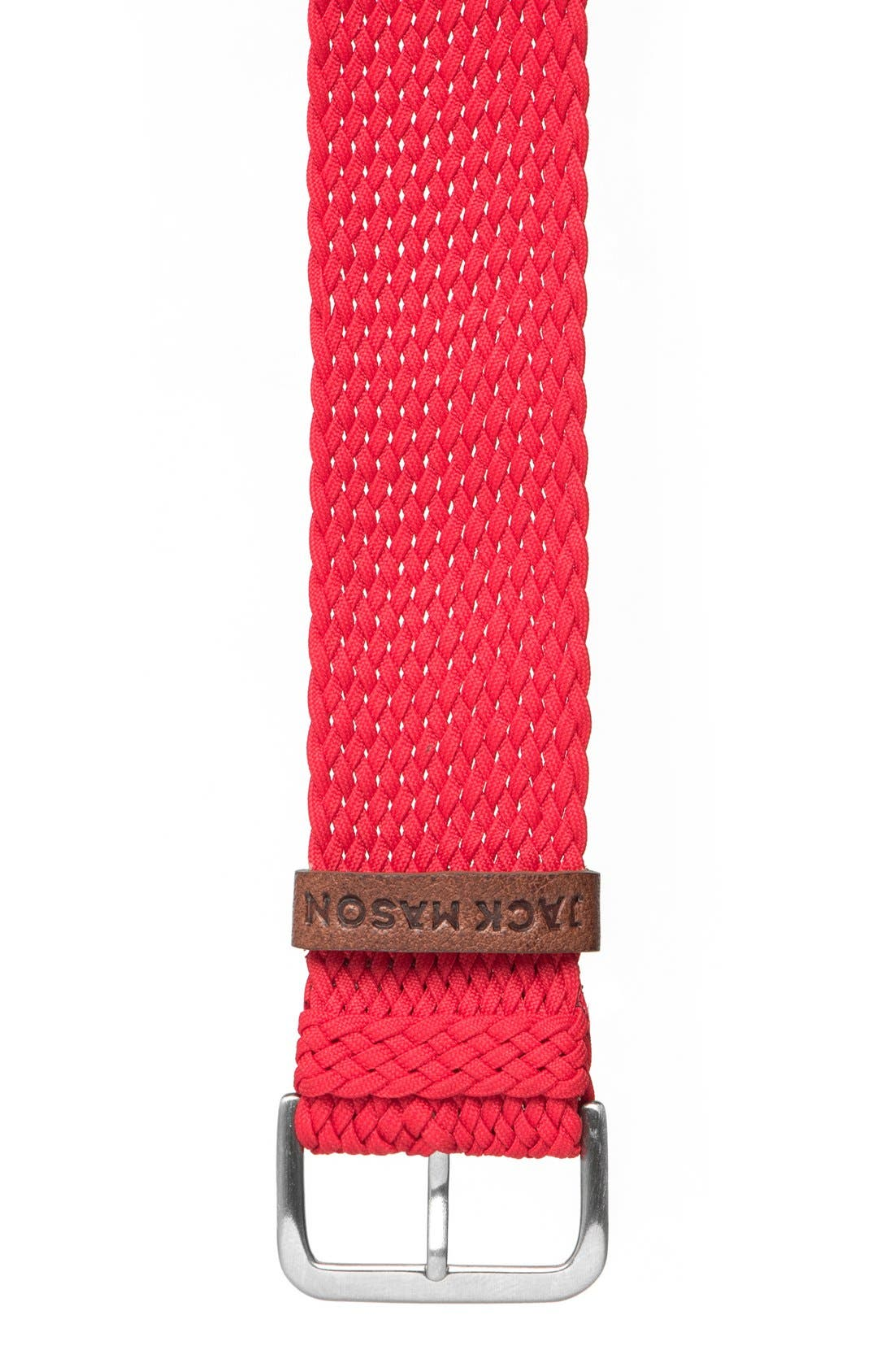 Nylon Strap with Leather Keeper, 22mm,                         Main,                         color, Red