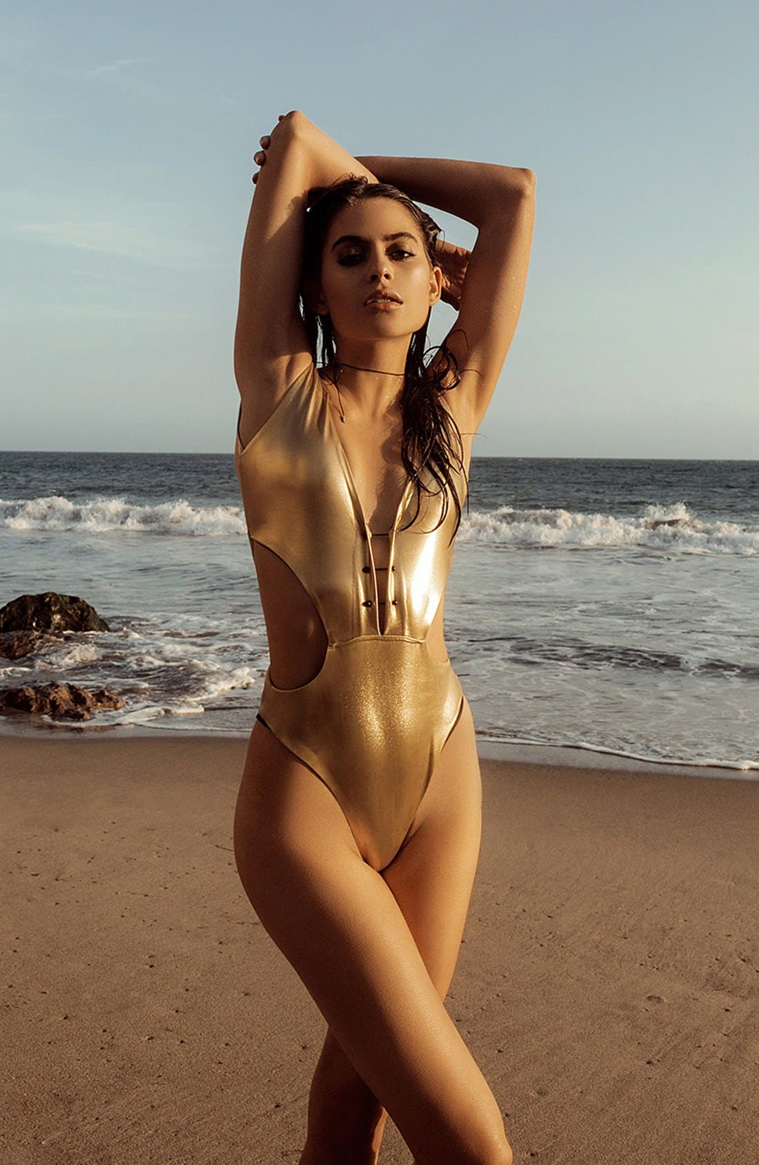 Alternate Image 3  - KENDALL + KYLIE at Topshop Metallic Plunging One-Piece Swimsuit