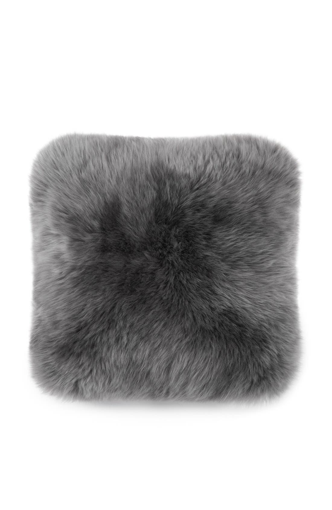 Genuine Sheepskin Pillow,                         Main,                         color, Grey