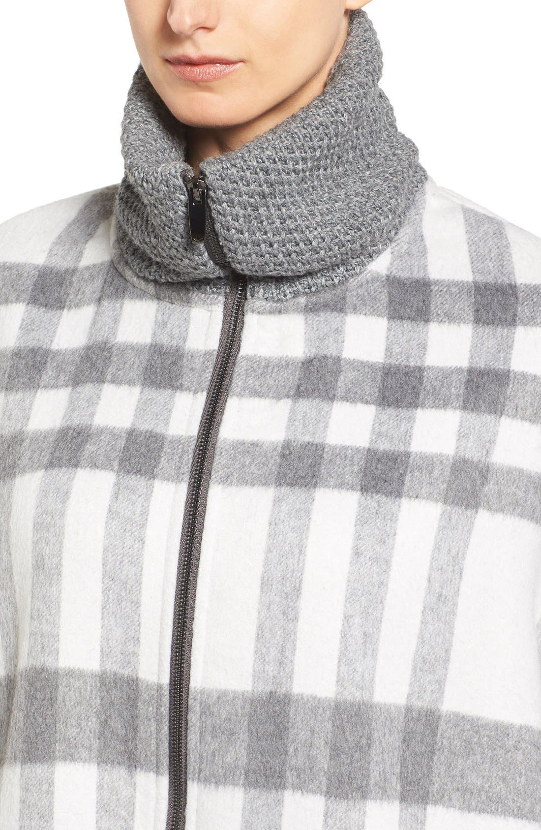 Zip Front Plaid Cape,                             Alternate thumbnail 4, color,                             Ivory/ Grey