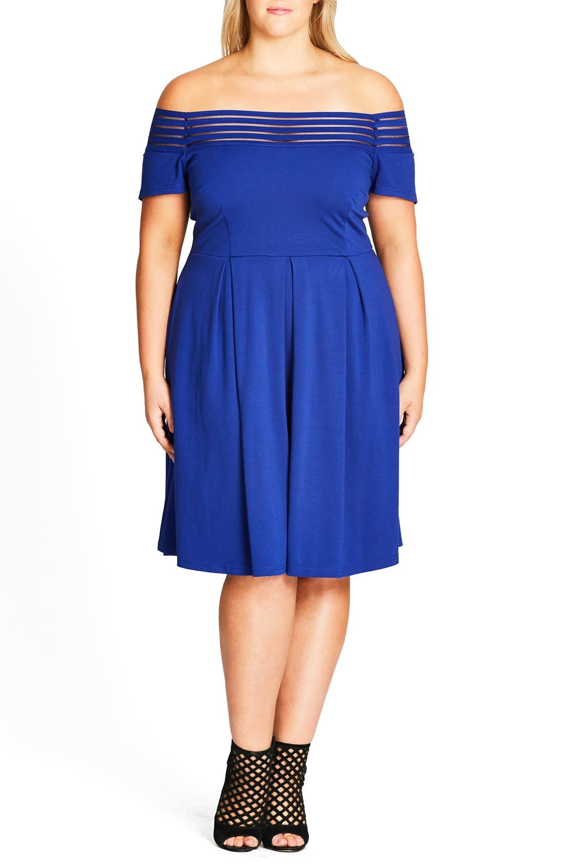 Alternate Image 1 Selected - City Chic Shadow Stripe Off the Shoulder Dress (Plus Size)