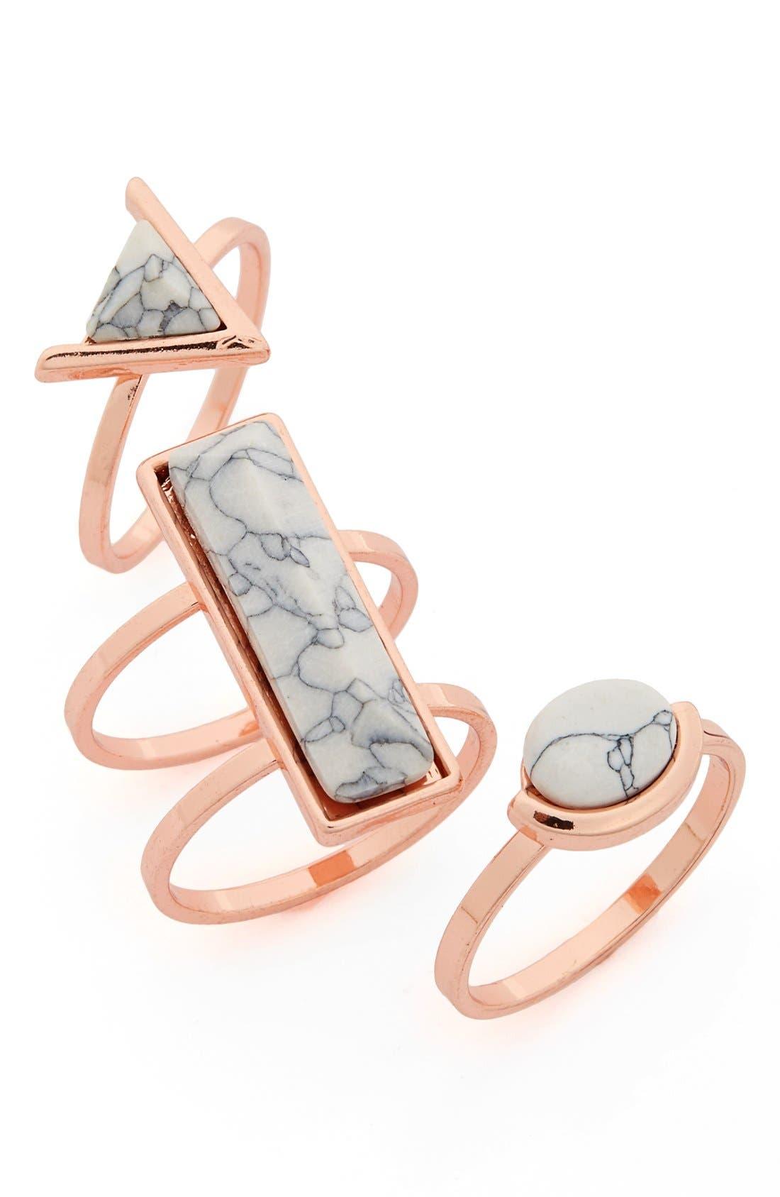 Main Image - Topshop Stone Rings (3-Pack)