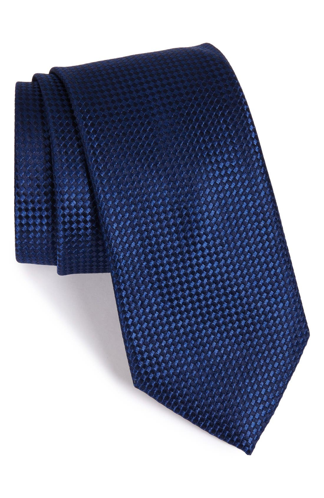 'Nate' Solid Silk Tie,                             Main thumbnail 1, color,                             Navy