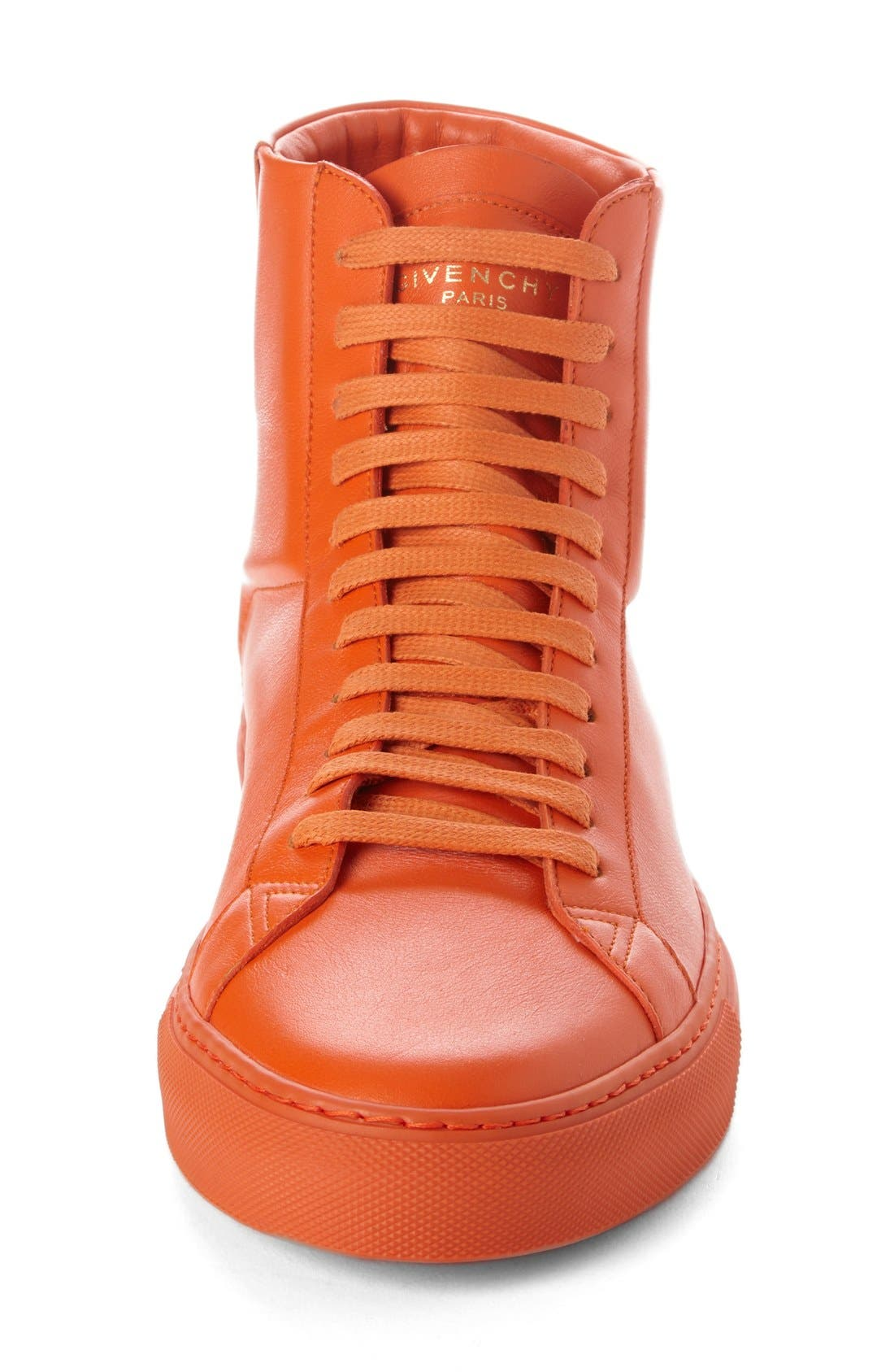 'Urban Knots' High Top Sneaker,                             Alternate thumbnail 4, color,                             Orange Leather