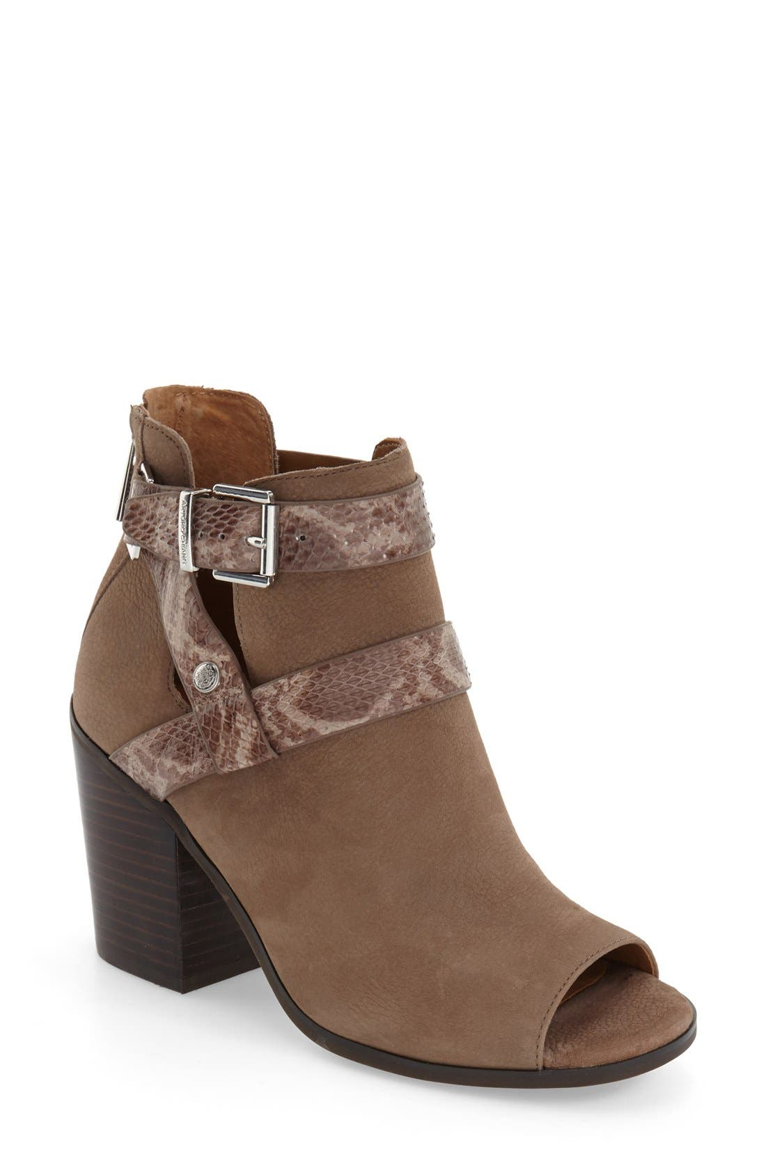 'Caraleigh' Peep Toe Bootie,                         Main,                         color, Cinder Leather