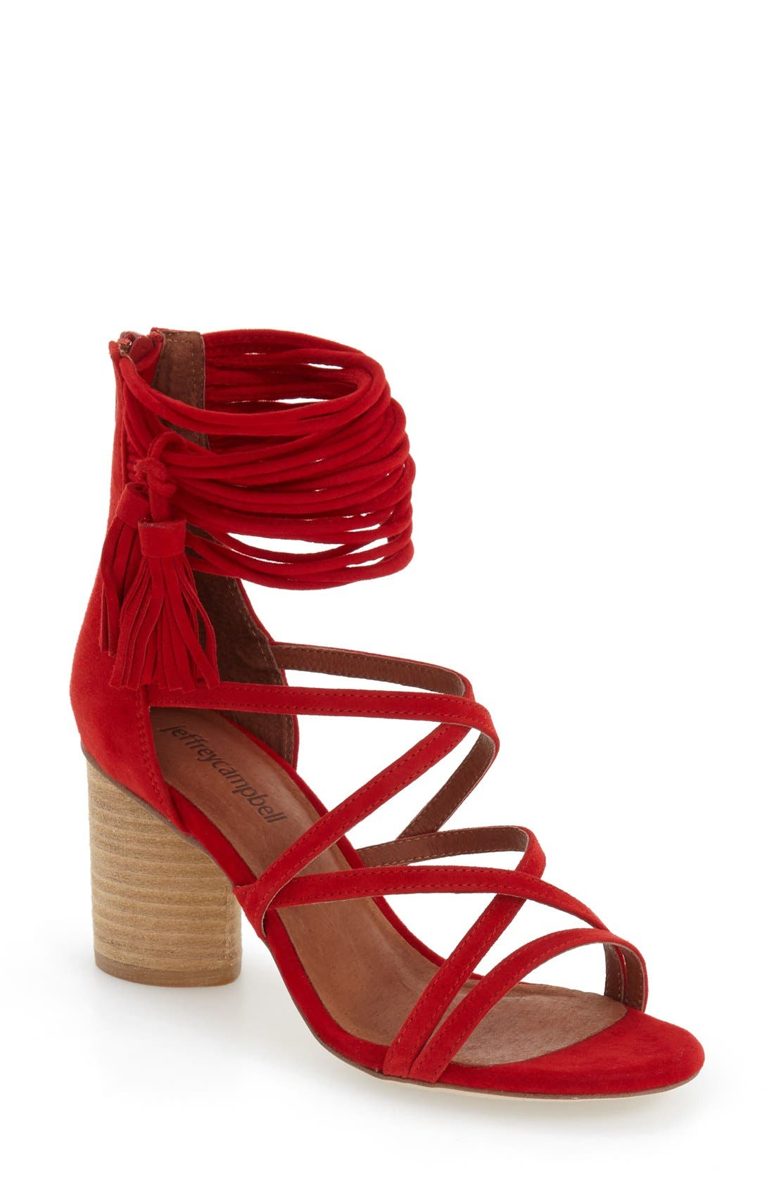 'Despina' Strappy Sandal,                             Main thumbnail 1, color,                             Red Suede